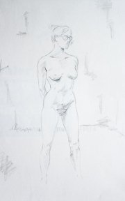 Nude female standing