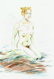 Nude female kneeling