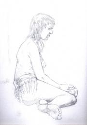 Nude - female sitting