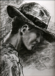 profile with hat sketch