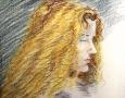 girl coloured pencil sketch