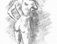 Nude female standing - back view