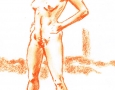 Nude female standing - front view